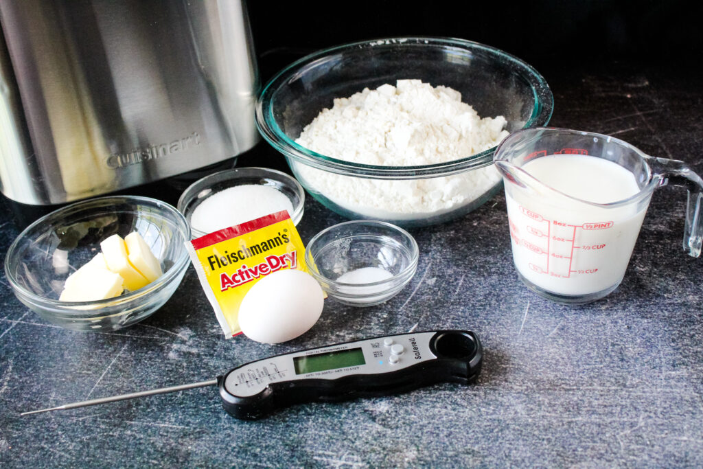 All of the ingredients for Bread Machine dinner rolls